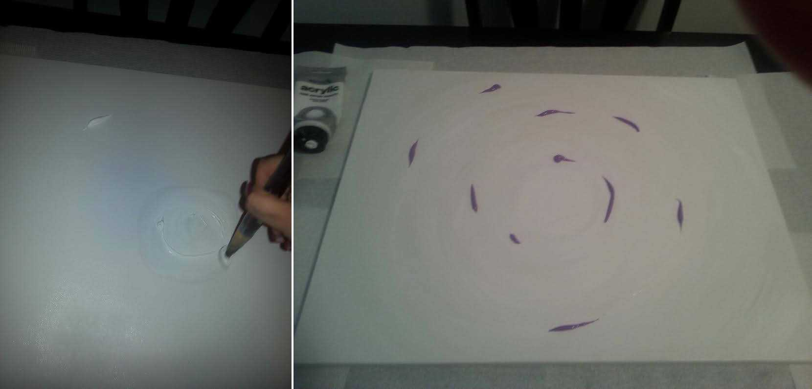 Spreading White Paint & Placing Purple Paint