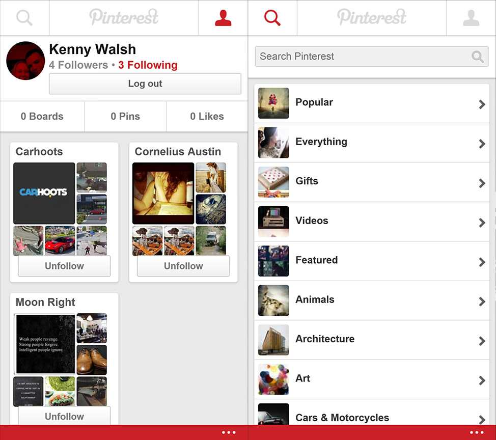 Pinterest Beta Windows Phone App