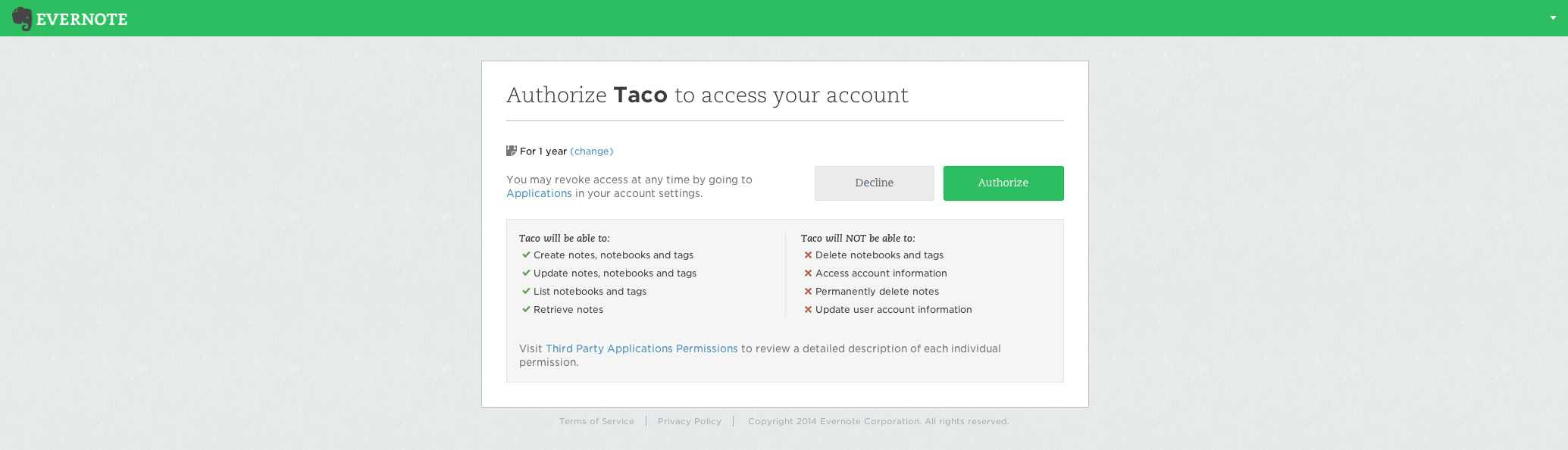 Taco Authorizing Evernote