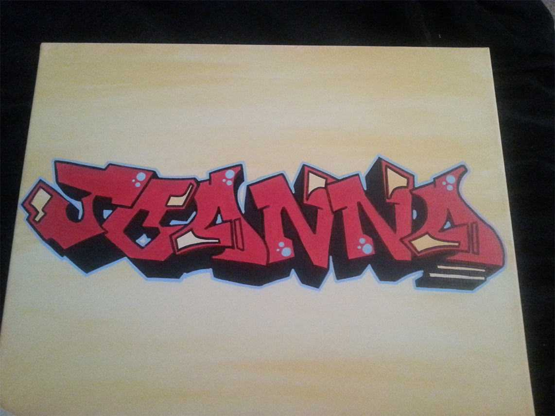 Color Blended Graffiti Tag Canvas - Red