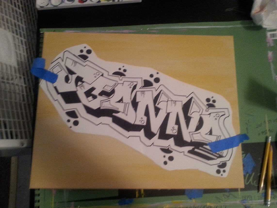 Color Blended Graffiti Tag Canvas - Angle