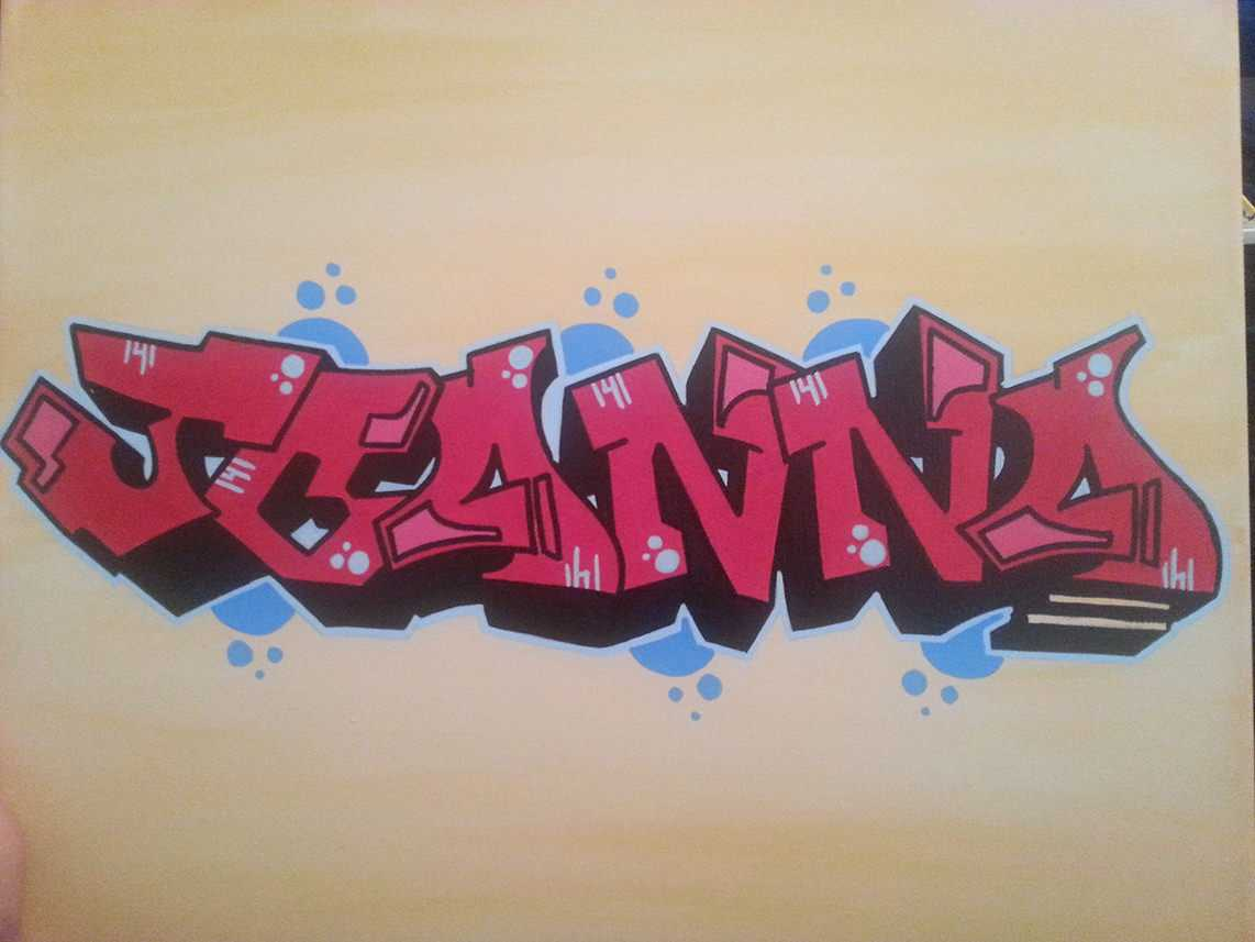 Color Blended Graffiti Tag Canvas - Exterior
