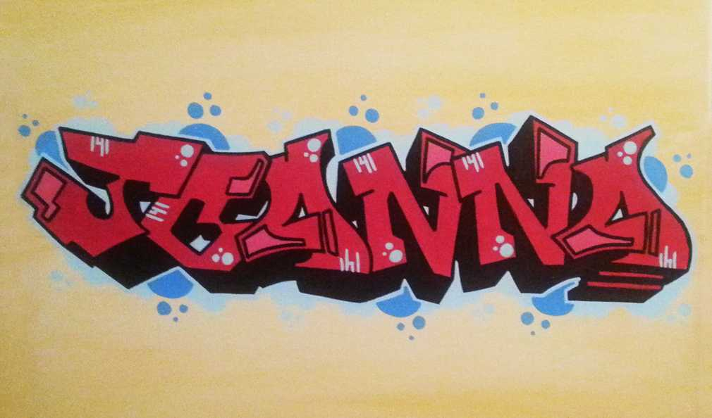 Color Blended Graffiti Tag Canvas - Finished