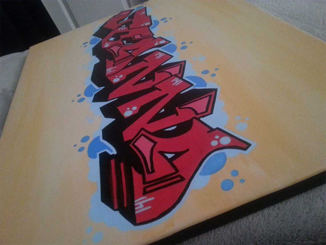 Color Blended Graffiti Tag Canvas - Side Shot