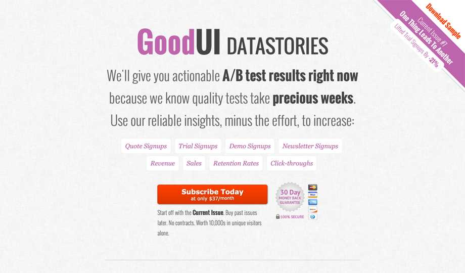 Gift Ideas For The Webmaster - GoodUI Datastories