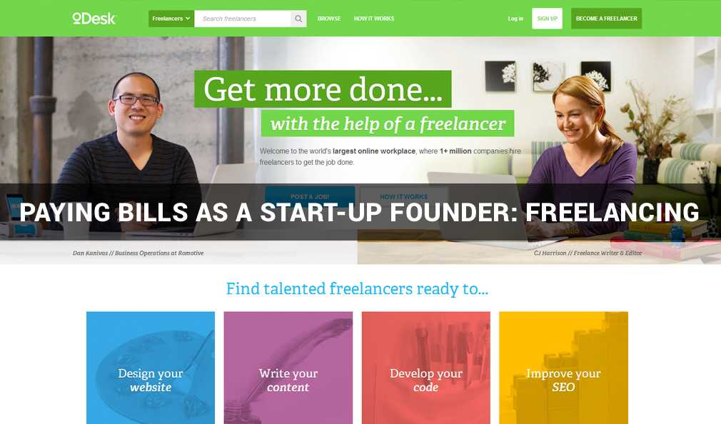 Paying Bills As A Start-Up Founder: Freelancing