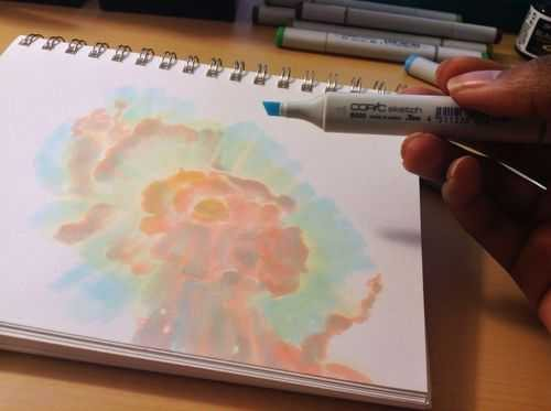 How To Create a Space Nebula Effect with Markers - 5